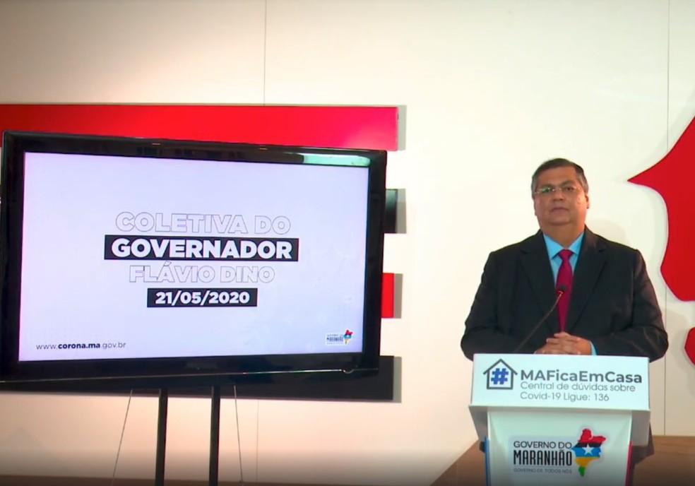 Governador do Maranhão, Flávio Dino (PCdoB), durante pronunciamento virtual nesta quinta-feira (21). — Foto: Reprodução/Redes sociais
