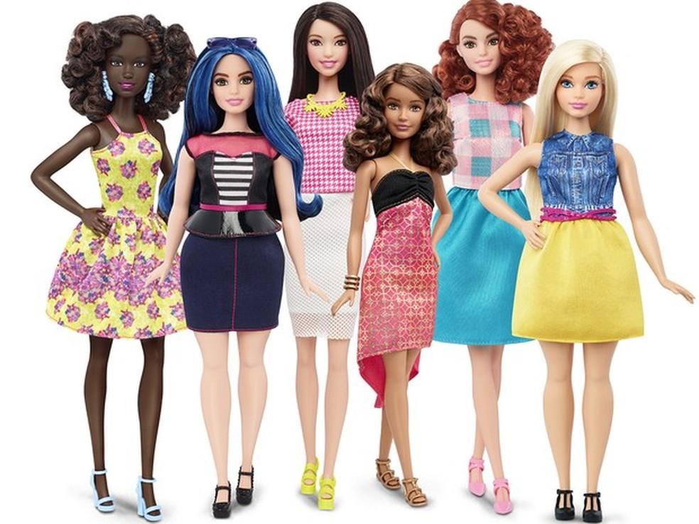 Modelos da boneca Barbie lançados em 2016 — Foto: Mattel via AP