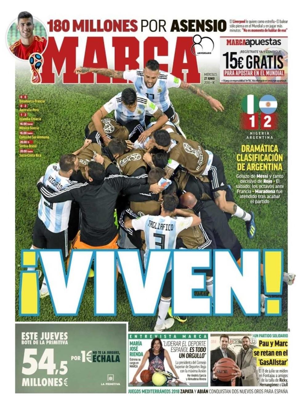 capa do marca sobre classificação da argentina (Foto: Divulgação)