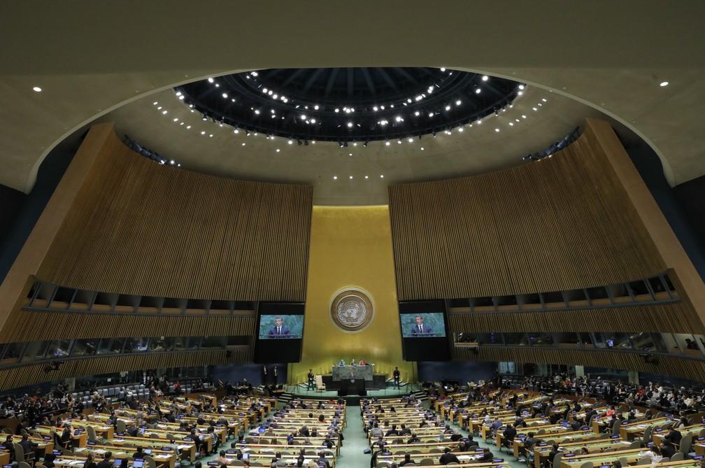 Panorama da Assembleia Geral da ONU durante discurso de Emmanuel Macron nesta terça-feira (24) — Foto: Lucas Jackson/Reuters