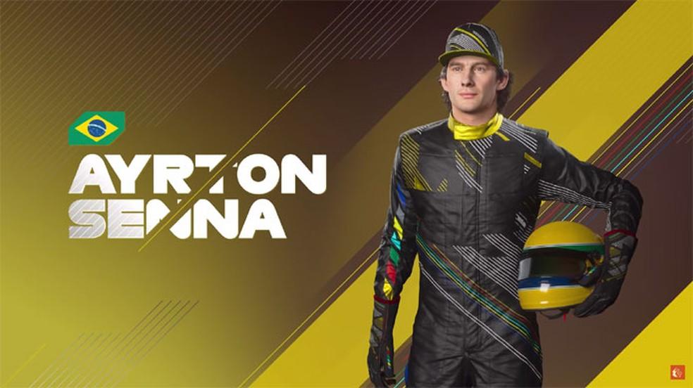 F1 2021: o piloto Ayrton Senna é um dos ídolos que estão presente no jogo — Foto: Reprodução/Codemasters
