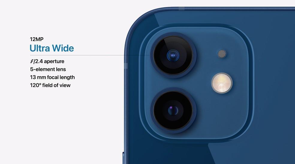 Câmera do iPhone 12 tem lente principal de 12 MP e uma grande angular de 12 MP — Foto: Reprodução/Apple