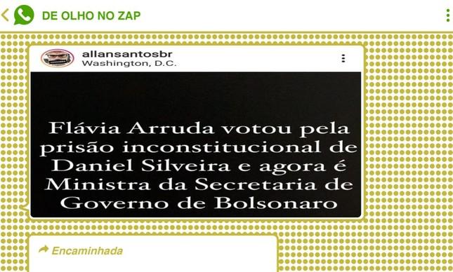 Blogueiro Allan de Abreu recordou voto da nova ministra da Secretaria de Governo, Flávia Arruda, pela manutenção da prisão do deputado Daniel Silveira determinada pelo STF