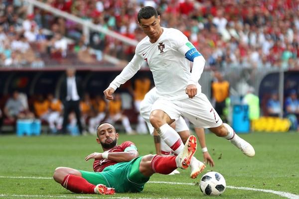 Cristiano Ronaldo na partida entre Portugal e Marrocos na Copa do Mundo (Foto: Getty Images)