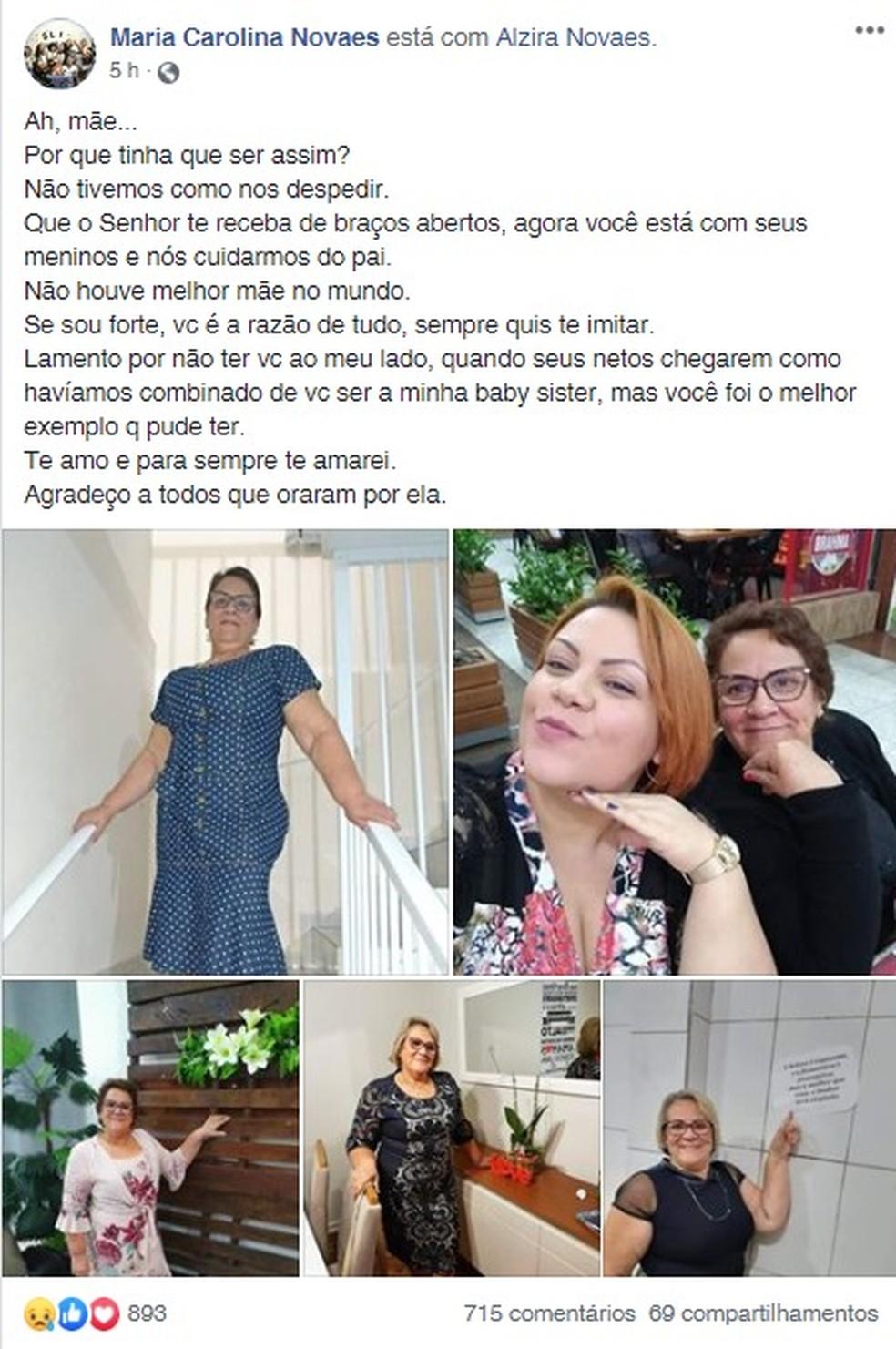Filha fez texto de despedida para a mãe nas redes sociais; irmão também morreu no início de abril pela doença — Foto: Reprodução/Facebook