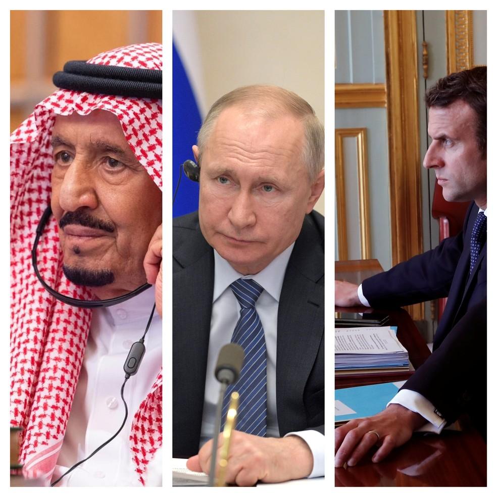 Rei Salman bin Abdulaziz, Vladimir Putin e Emmanuel Macron participal de conferência virtual do G20, em 26 de março de 2020 — Foto: Bandar Algaloud/Saudi Royal Court/via Reuters; Alexei Druzhinin/Kremlin via Reuters; Benoit Tessier/Pool/Reuters