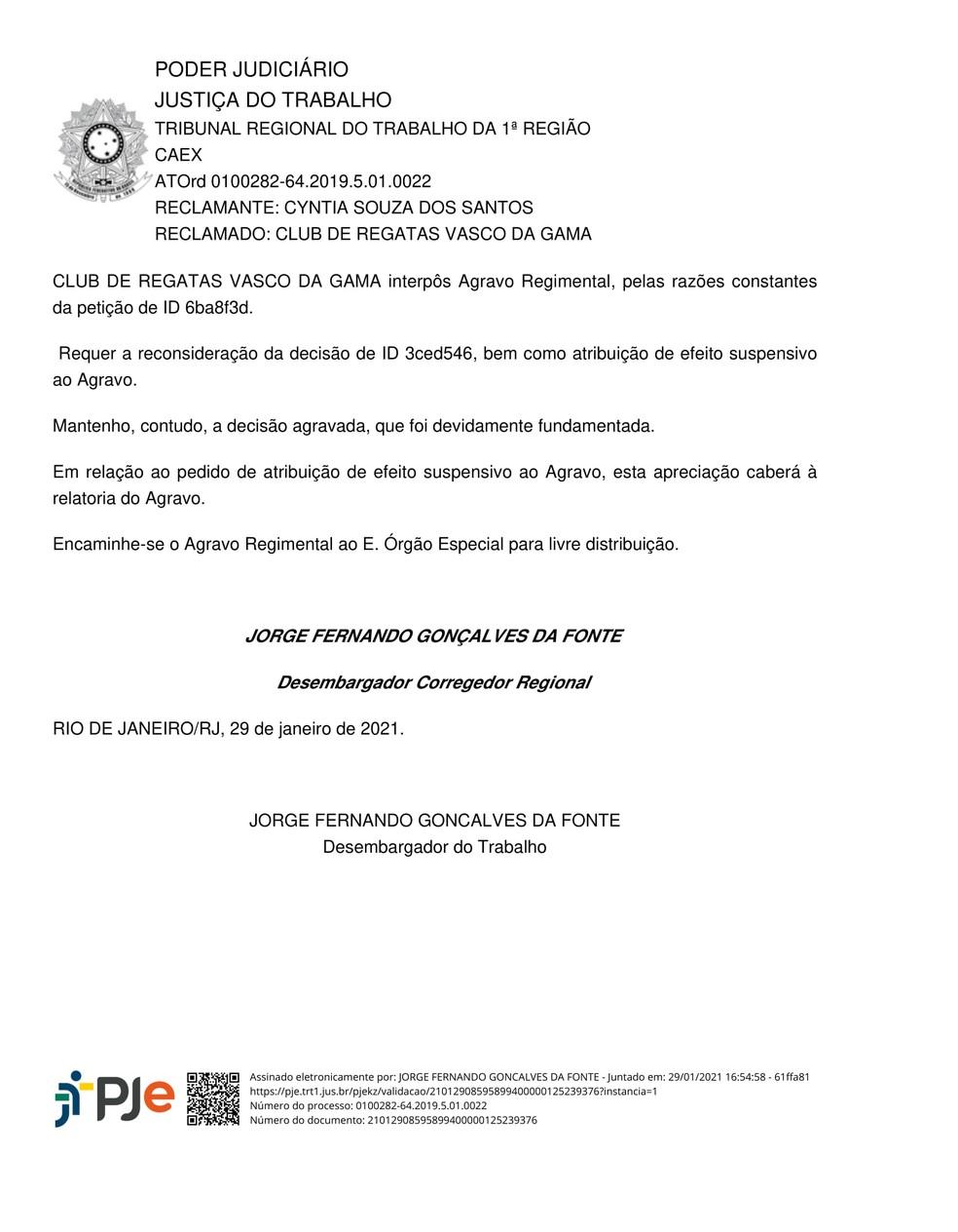 Decisão nega recurso do Vasco sobre o Ato Trabalhista — Foto: Reprodução