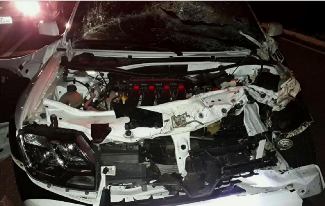 Carro da Polícia Militar bate em animal e fica destruído no Ceará