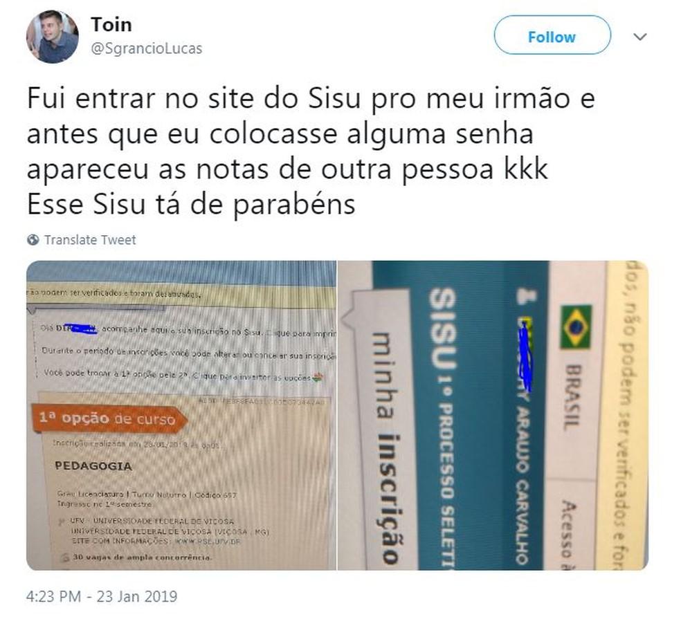 Post mostra falha do Sisu. — Foto: Reprodução/Twitter