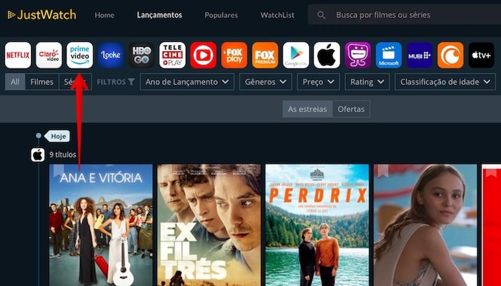 Acessando lançamentos da Amazon Prime Video — Foto: Reprodução/Helito Beggiora