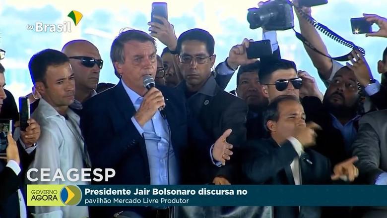 Bolsonaro em evento na Ceagesp (Foto: TV Brasil/Reprodução)