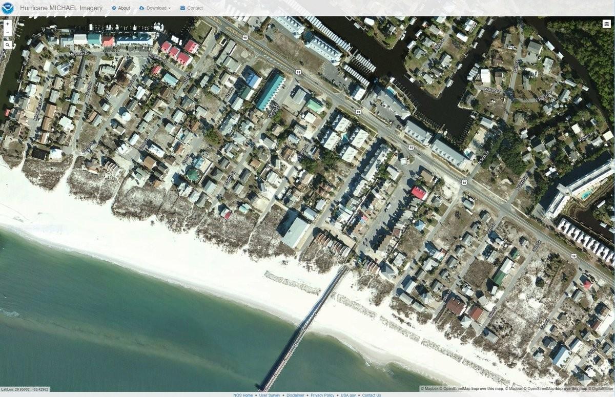 Mexico Beach antes da passagem do furacão Michael (Foto: Reprodução/NOAA)