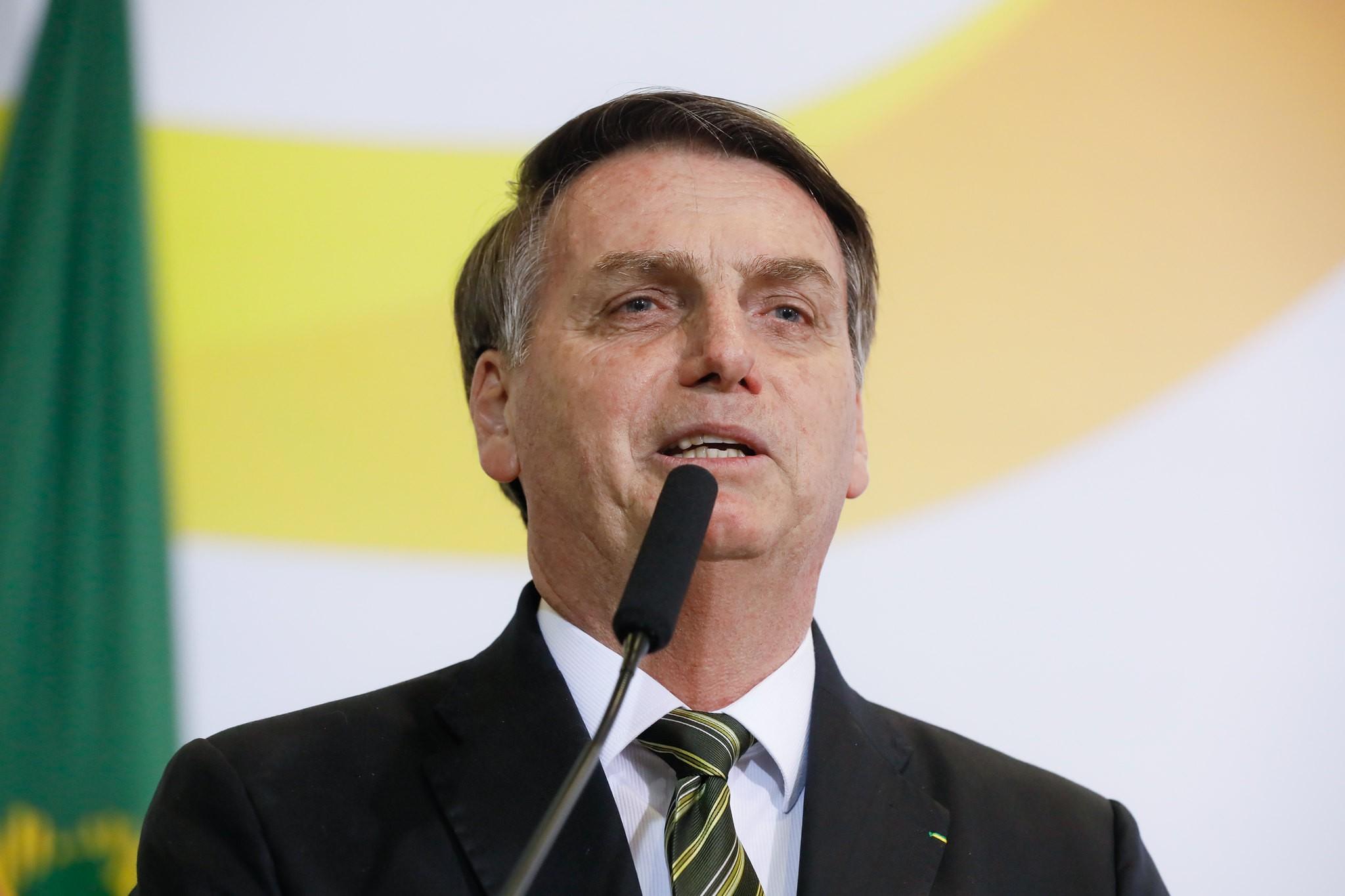 O presidente Jair Bolsonaro em solenidade pelos 300 dias de governo