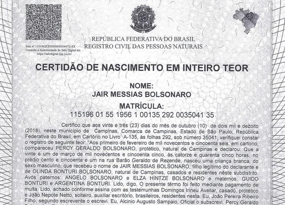 Certidão de nascimento do presidente eleito, Jair Messias Bolsonaro — Foto: Reprodução