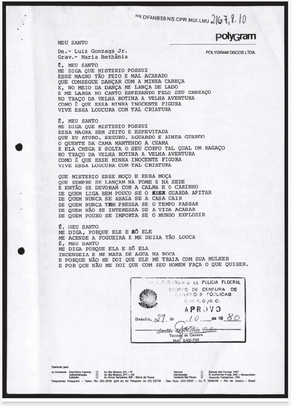 Documento com a letra da música 'Meu santo', de Gonzaguinha — Foto: Reprodução