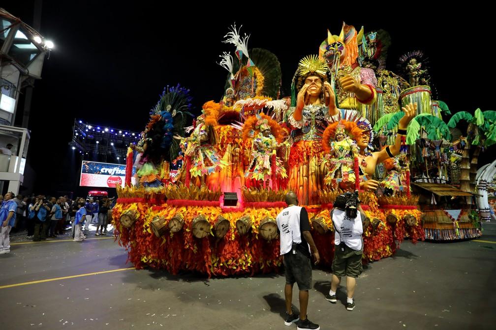 Homenagem ao Maranhão no desfile da Acadêmicos do Tatuapé foi da cultura às lendas do estado — Foto: Marcelo Brandt/G1