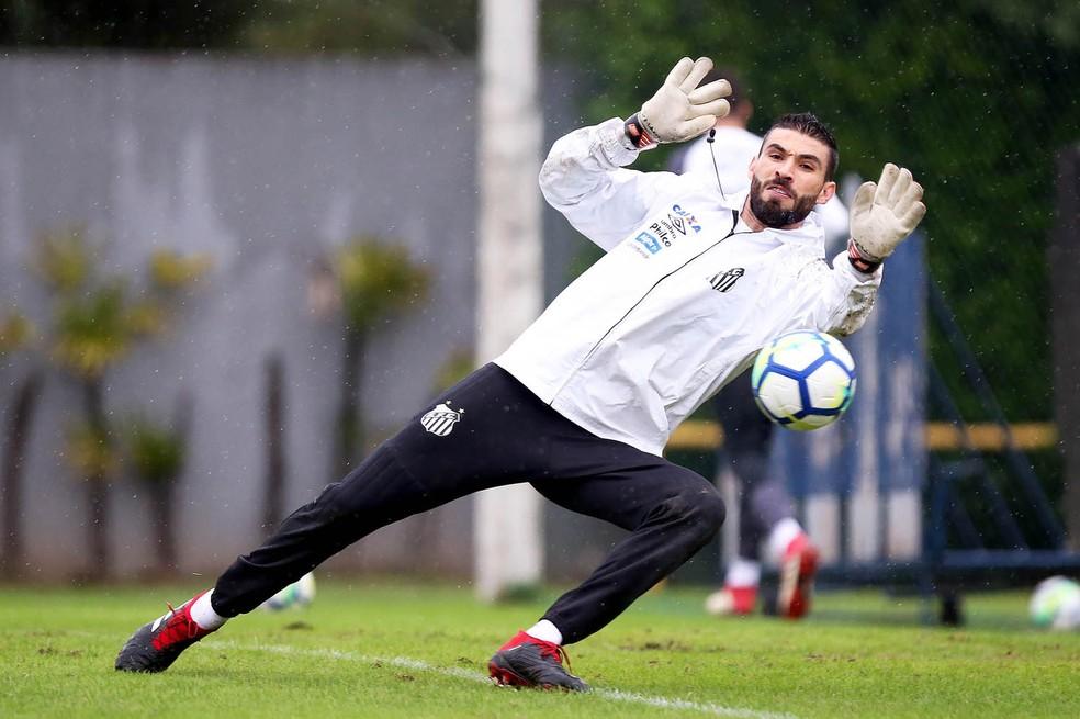 Vanderlei é o goleiro que somou mais minutos sem tomar gols com a camisa do Santos — Foto: Pedro Ernesto Guerra Azevedo/Santos FC