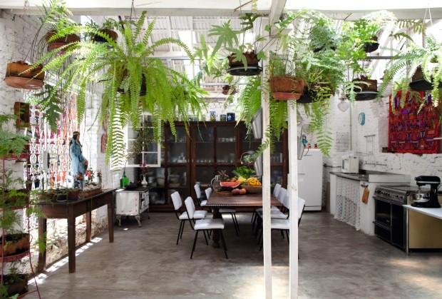 Na cozinha instalada em antigo galpão, o telhado original de telhas translúcidas permite o cultivo de plantas, como as diversas espécies de samambaia (Foto: Marco Antonio / Editora Globo)