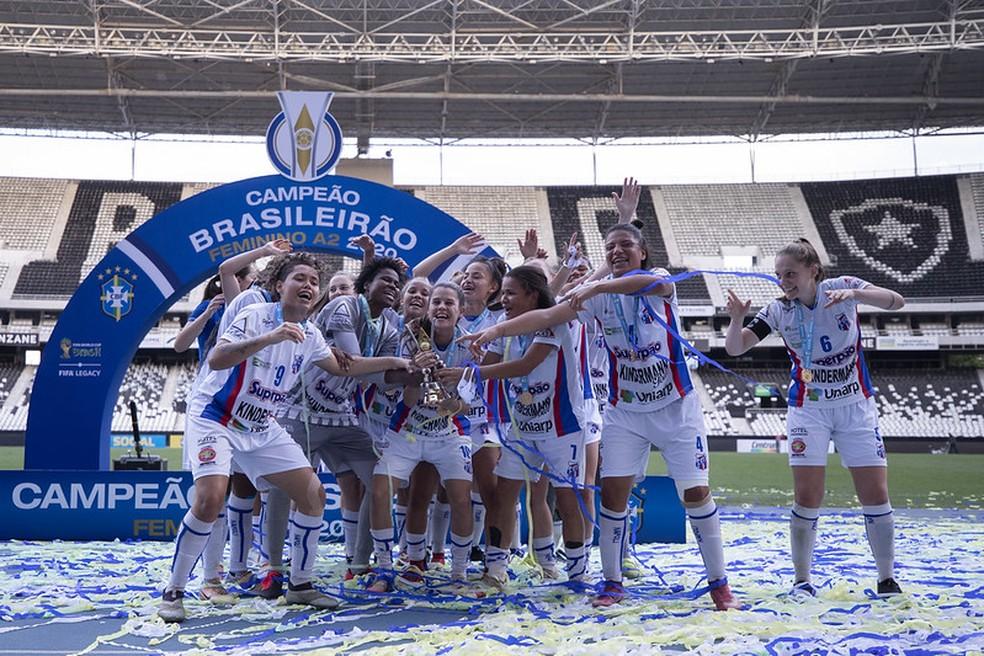 Napoli-SC bateu o Botafogo por duas vezes e se sagrou campeão do Brasileirão Feminino A2 em 2020 — Foto: Thais Magalhães / CBF