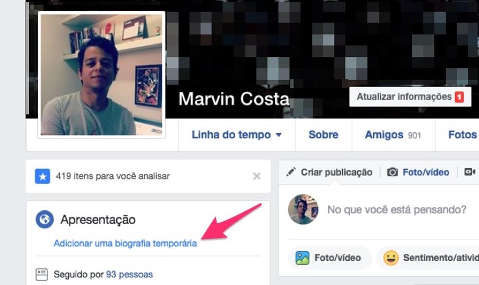 Opção para adicionar uma biografia no perfil de usuário do Facebook (Foto: Reprodução/Marvin Costa)