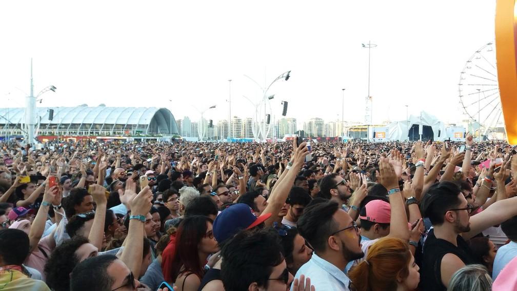Plateia do show de Pabllo Vittar no Rock in Rio (Foto: Miguel Folco/G1)