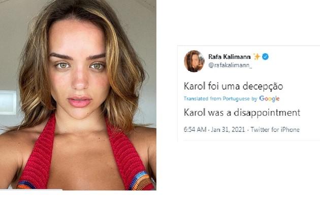 Participante do 'BBB' 20 e atriz, Rafa Kalimann se disse decepcionada com a artista (Foto: Reprodução)