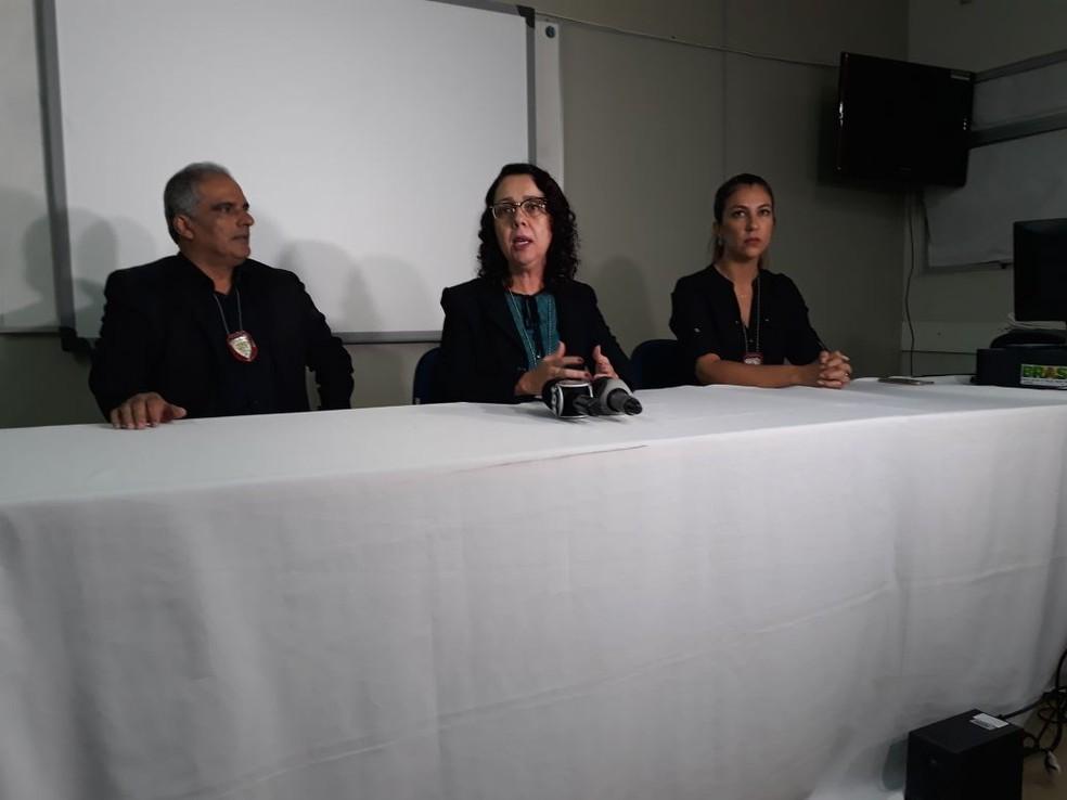 Polícia Civil concedeu entrevista coletiva na noite desta terça-feira (24) para falar sobre corpo encontrado na Zona Norte de Natal (Foto: Cláudia Angélica/Inter TV Cabugi)