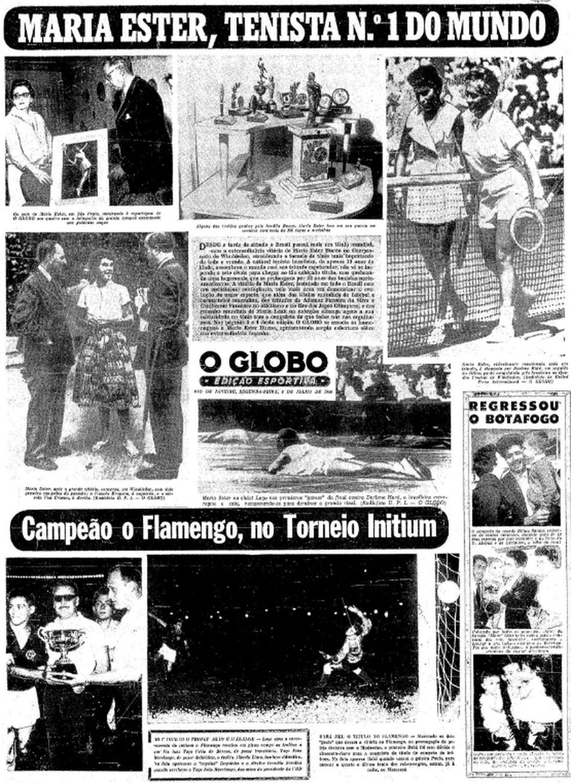 Maria Esther dominou as manchetes esportivas na época — Foto: Reprodução / Acervo O Globo