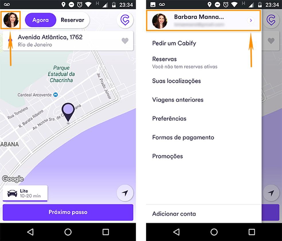 Acesse o menu lateral do Cabify pelo celular Android (Foto: Reprodução/Barbara Mannara)