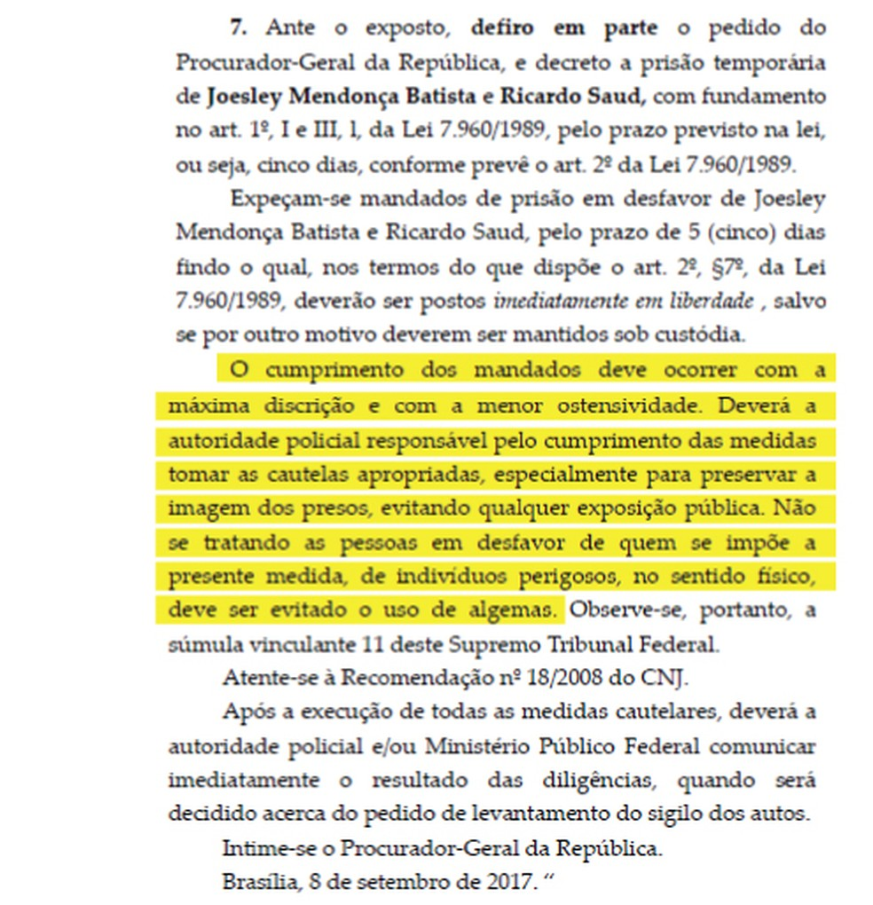 No despacho, Fachin afirma que cumprimento dos mandados deve ocorrer com 'máxima discrição' (Foto: Reprodução)