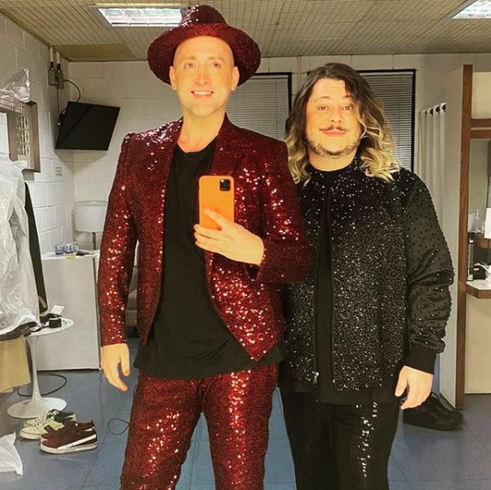 Paulo Gustavo e Marcus Majella posam nos bastidores do especial de fim de ano da Globo — Foto: Reprodução/Instagram