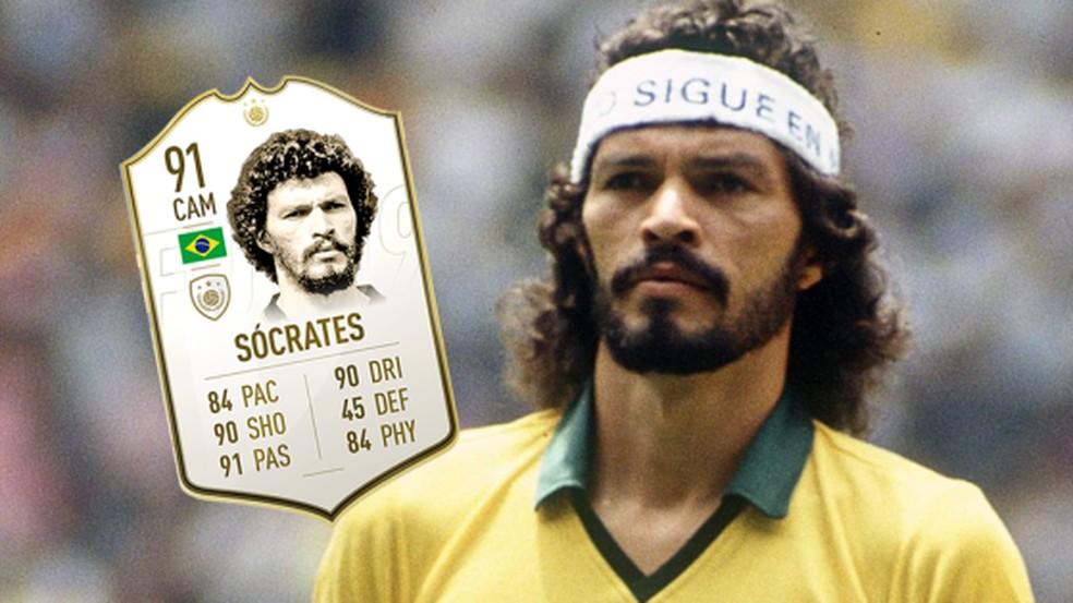 O Doutor Sócrates também aparece com moral no FIFA 21 — Foto: Reprodução