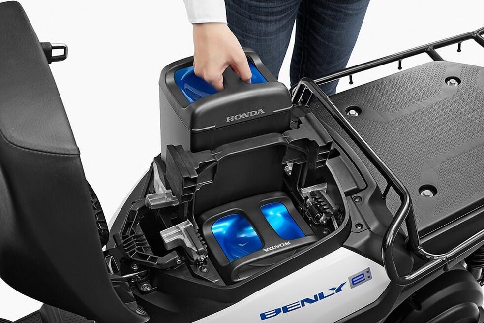 Removable Honda Benly e and Gyro e batteries - Photo: