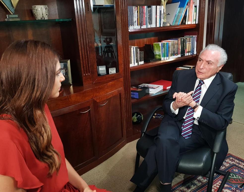 Andréia Sadi entrevista o ex-presidente Michel Temer para o programa Em Foco com Andréia Sadi — Foto: GloboNews