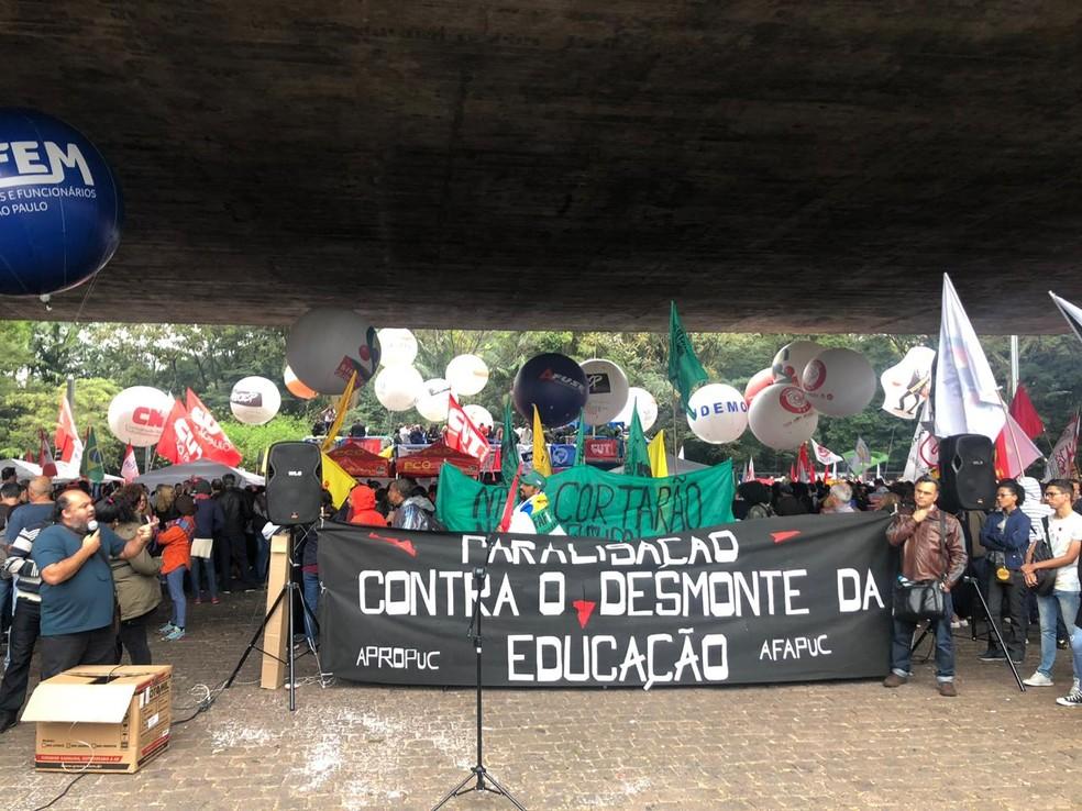 Manifestantes se reúnem às 16h00 no vão do Masp, na Av. Paulista.  — Foto: Patrícia Figueiredo/G1
