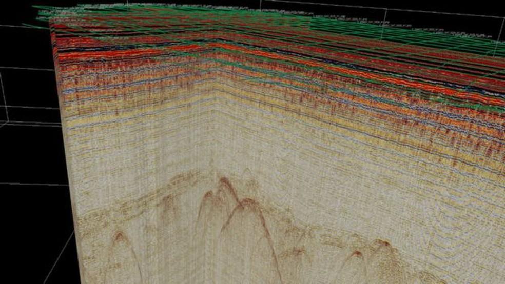 Base dos EUA na Groenlândia em imagem de radar de 2017, onde é possível ver os tetos da Camp Century — Foto: GEUS