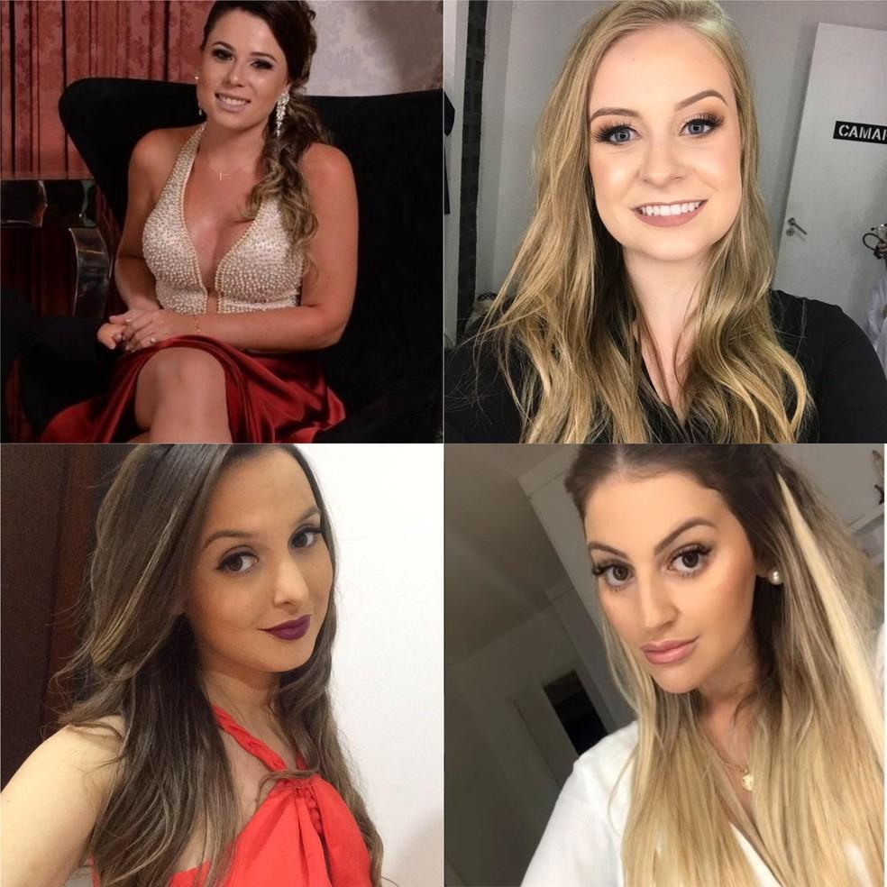 Ana Carolina Basso, Bruna Silvestro, Bruna dos Santos e Paloma Correa estavam no mesmo carro — Foto: Facebook/Instagram/Reprodução