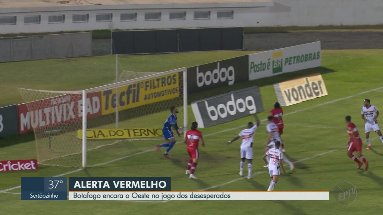 Botafogo-SP busca vitória contra o Oeste para fugir do rebaixamento