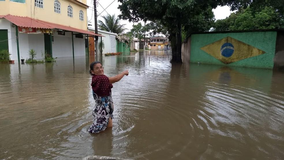 Alagamento em Cobilândia, em Vila Velha, no Espírito Santo — Foto: Roberto Pratti/ TV Gazeta
