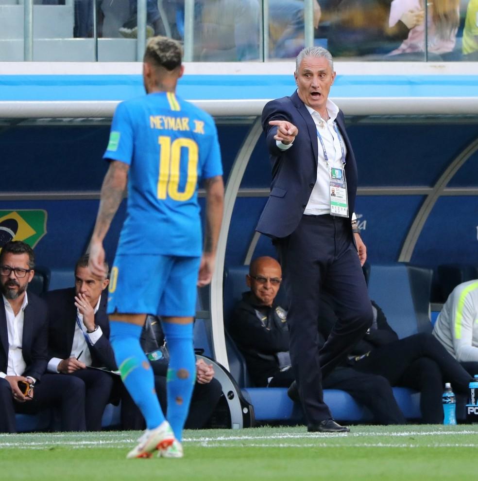 Tite e Neymar (Foto: Tite elogia insistência do time e 'grande' 2º tempo: 'Deu aula')