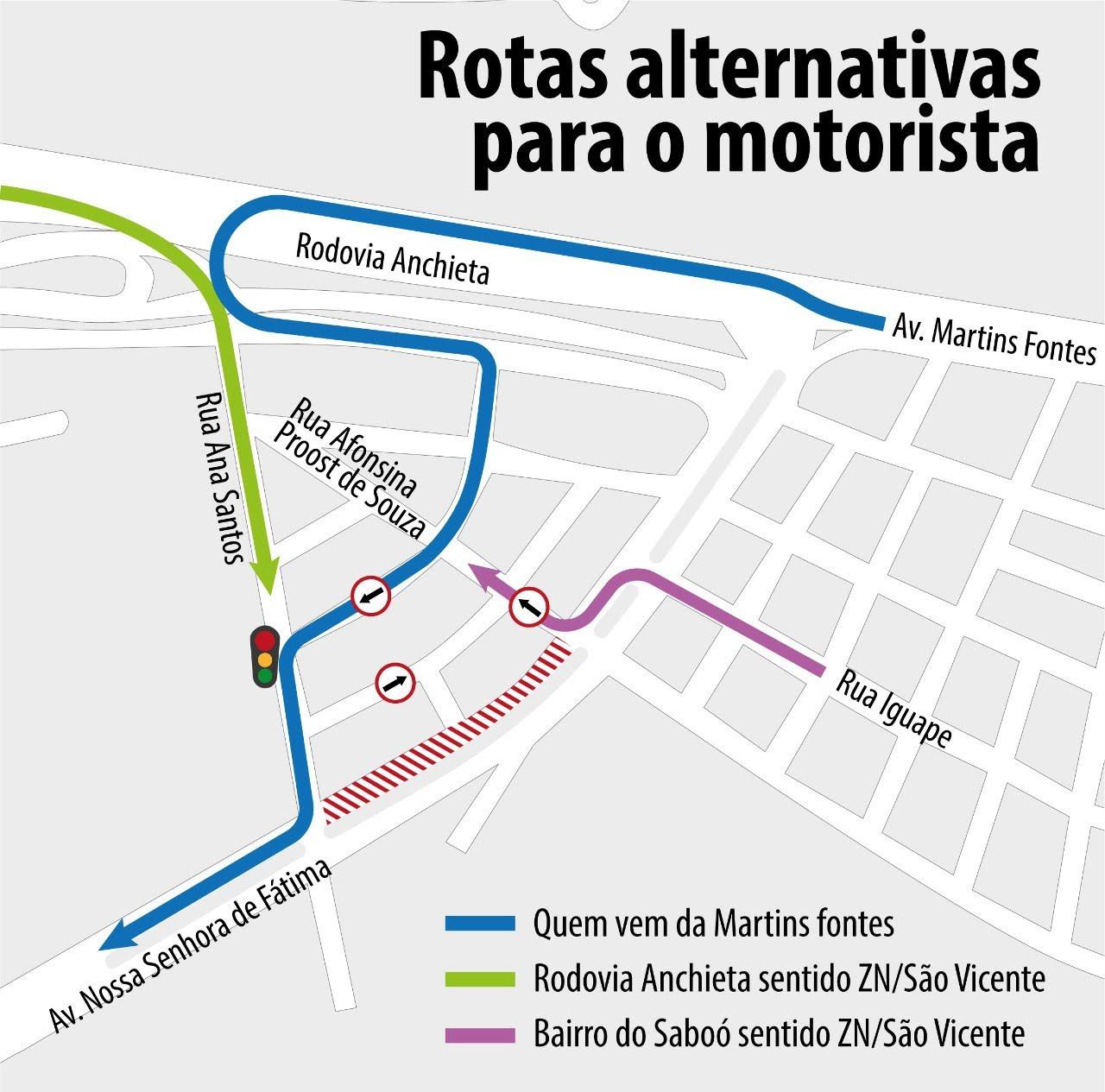 Avenida Nossa Senhora de Fátima terá trecho interditado para obras