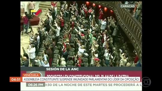 Assembleia constituinte suspende imunidade parlamentar do líder da oposição na Venezuela
