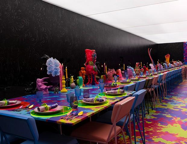 Casamento descolado na Austrália tem salão decorado dividido ao meio  (Foto: Divulgação )