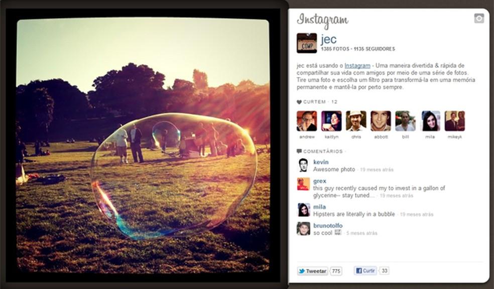 Um dos primeiros testes de imagem publicados pelo Instagram, em setembro de 2010 — Foto: Reprodução
