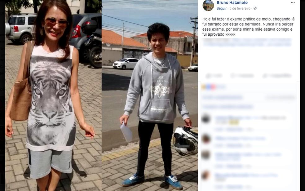 Post de Bruno Hatamoto, morador de Campinas, e a mãe com roupas trocadas viralizou nas redes sociais (Foto: Reprodução/Facebook)