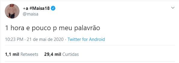Maisa Silva fala palavrões para celebrar maioridade (Foto: Reprodução/Twitter)