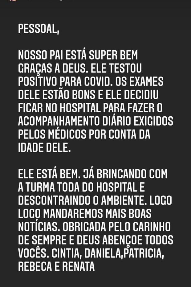 Silvio Santos está internado com Covid-19 (Foto: Reprodução/Instagram)
