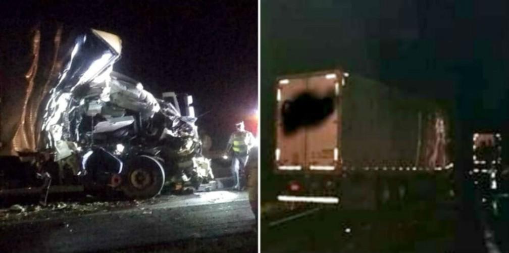 Cabine do caminhão que seguia atrás ficou destruída; caminhão atingido (à dir.) estava carregada de ovos e motoristas não se feriram — Foto: Valdecir Luis de Sousa/Divulgação