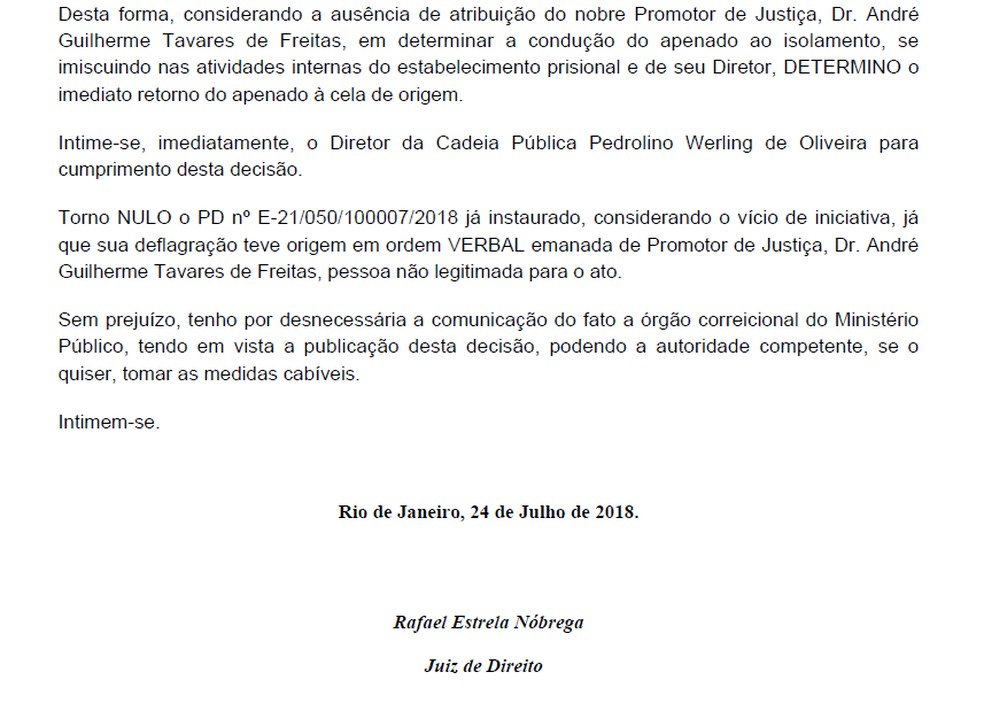 Juiz Rafael Estrela mandou Cabral voltar para cela coletiva (Foto: Reprodução)