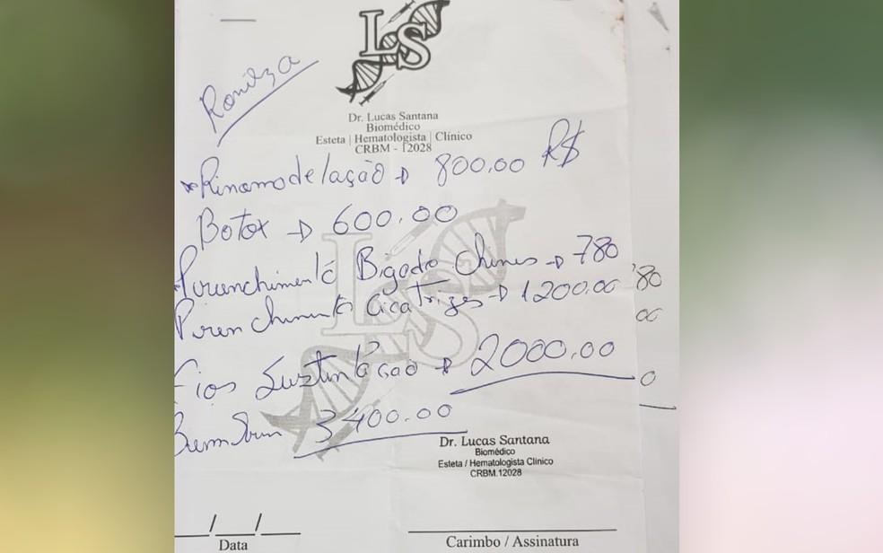 Orçamento dos procedimentos estéticos feitos pelo biomédico — Foto: Reprodução/Polícia Civil